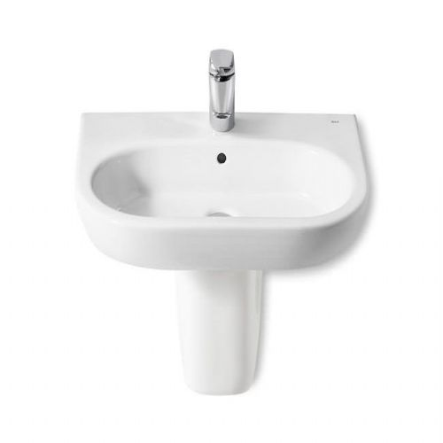Roca Meridian-N Round Basin With Semi Pedestal - 650mm - 1 Tap Hole - White